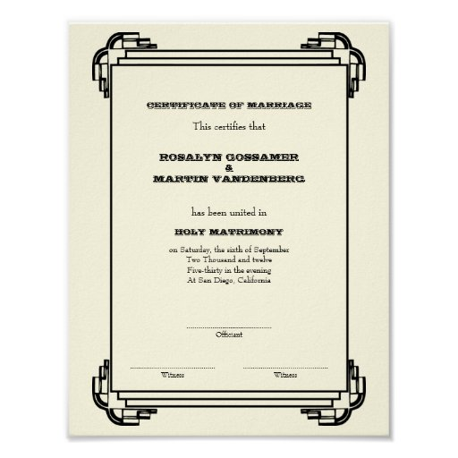 Vertical del certificado del boda del recuerdo del poster