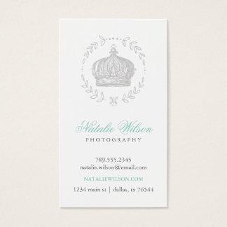 Vertical elegante gris de la corona del vintage tarjeta de visita
