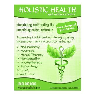 Vertical holística de la salud del símbolo verde folleto 21,6 x 28 cm