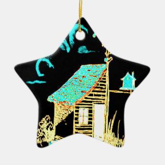vertiente, árbol, birdhouse, flores adorno de cerámica en forma de estrella