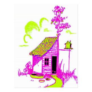 vertiente, árbol, birdhouse, flores postal