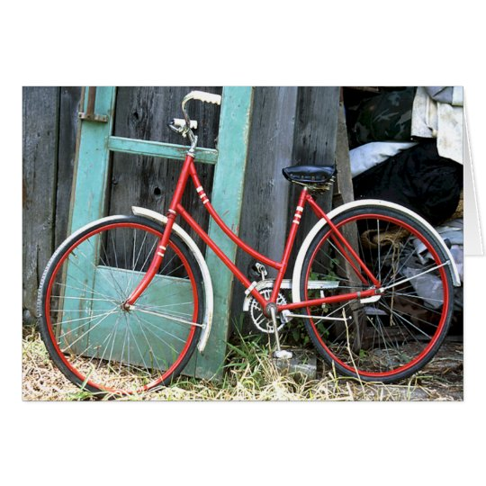Vertiente vieja de ciclo que monta en bicicleta tarjeta de felicitación