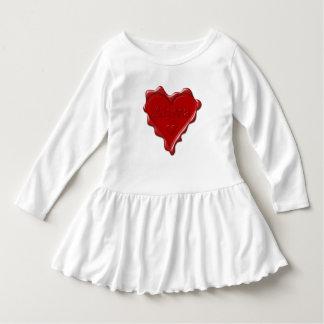 Vestido Alyssa. Sello rojo de la cera del corazón con