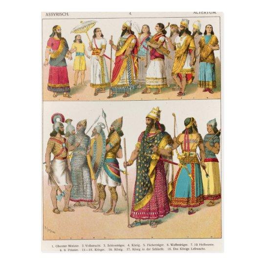 """Vestido asirio, del """"der Voelker de Trachten"""", Postal"""