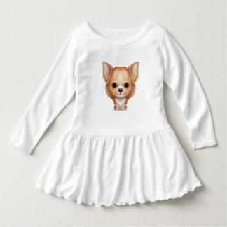 Vestido Chihuahua beige y blanca de pelo largo