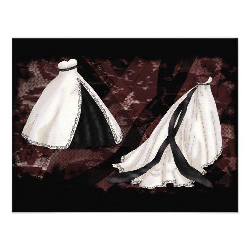 Vestido de boda blanco y negro invitacion personalizada