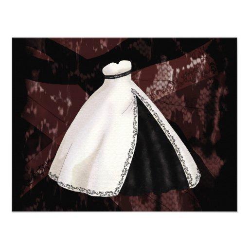 Vestido de boda blanco y negro invitacion personal