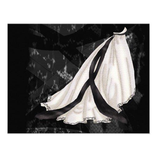 Vestido de boda blanco y negro anuncio