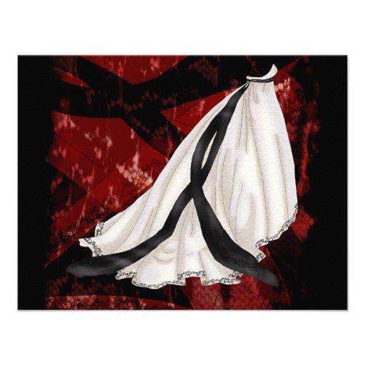Vestido de boda blanco y negro invitación