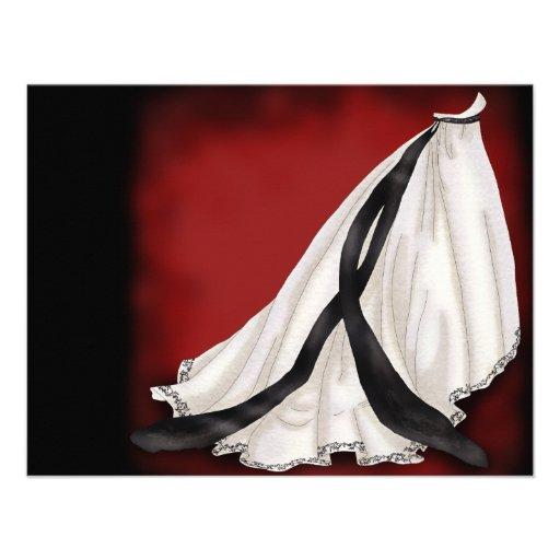 Vestido de boda blanco y negro anuncio personalizado