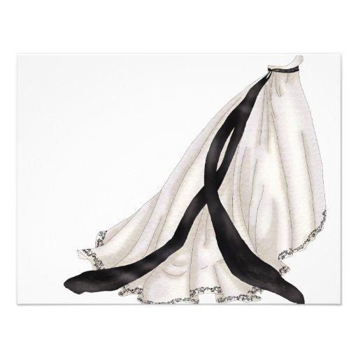 Vestido de boda blanco y negro invitaciones personales