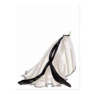 Vestido de boda blanco y negro postal
