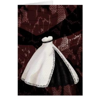 Vestido de boda blanco y negro tarjeta de felicitación