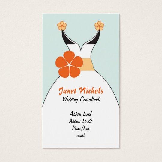 Vestido de boda con el naranja Flower2 Tarjeta De Negocios