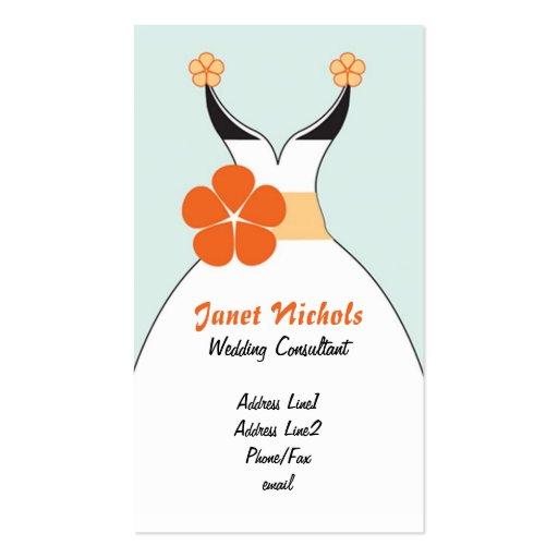 Vestido de boda con el naranja Flower2 Tarjetas De Visita