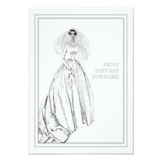 Vestido de boda del vintage a partir de este día invitación 12,7 x 17,8 cm