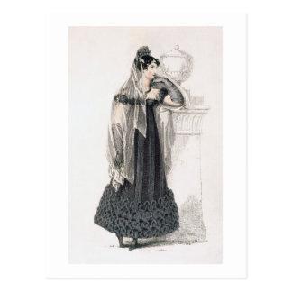 Vestido de luto, placa de moda del representante d postal