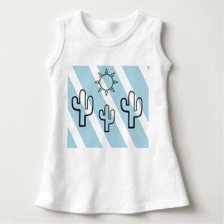 Vestido del bebé de las rayas azules del verano