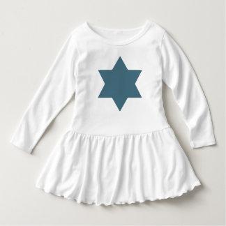 Vestido del volante del niño de la estrella azul camiseta