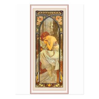 Vestido largo femenino de la señora del poster del postal