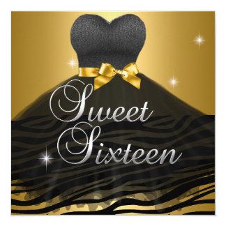 Vestido negro de la cebra del oro del dulce 16 del invitación 13,3 cm x 13,3cm
