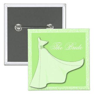 Vestido nupcial verde - botón nupcial de la ducha pin