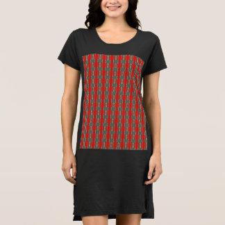 Vestido rojo de la camiseta del negro de la