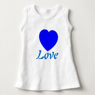 Vestido sin mangas del amor azul del corazón
