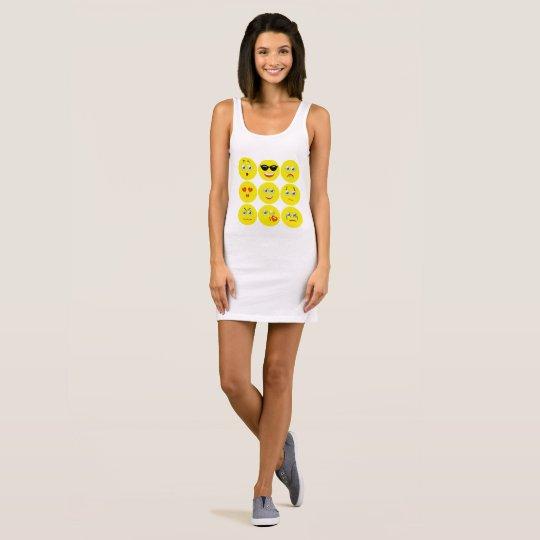 Vestido Sin Mangas Emojis amarillo y blanco lindo