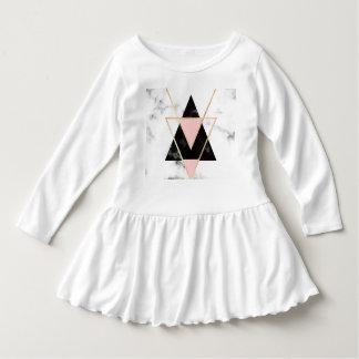 Vestido Triángulos, oro, negro, rosa, mármoles, collage,