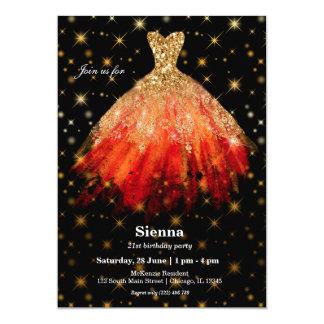 Vestidos de la acuarela del purpurina invitación 12,7 x 17,8 cm