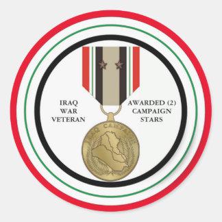 VETERANO DE GUERRA DE IRAQ DE 2 ESTRELLAS DE LA PEGATINA REDONDA