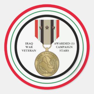 VETERANO DE GUERRA DE IRAQ DE 3 ESTRELLAS DE LA PEGATINA REDONDA