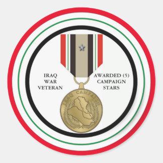 VETERANO DE GUERRA DE IRAQ DE 5 ESTRELLAS DE LA PEGATINA REDONDA