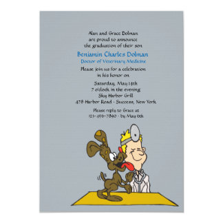 Veterinario con la invitación de la graduación del invitación 12,7 x 17,8 cm
