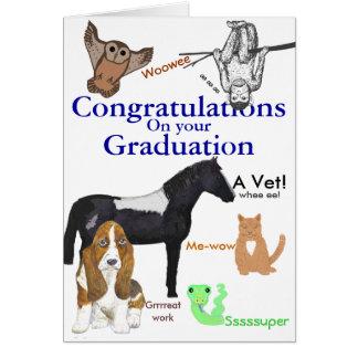 Veterinario de la graduación de la enhorabuena tarjeta de felicitación