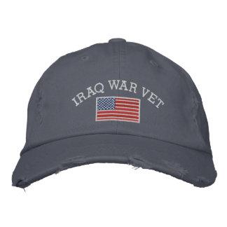 Veterinario de la guerra de Iraq con la bandera Gorros Bordados