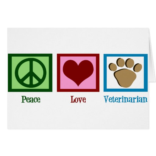 Veterinario del amor de la paz felicitacion
