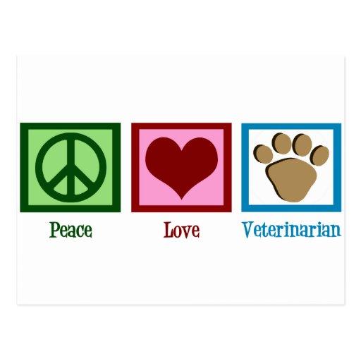 Veterinario del amor de la paz postal