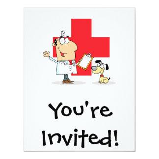 Veterinario tonto del veterinario del dibujo invitación 10,8 x 13,9 cm