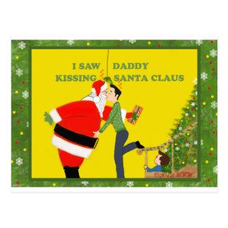 Vi navidad del gay de Papá Noel del papá que se Postal