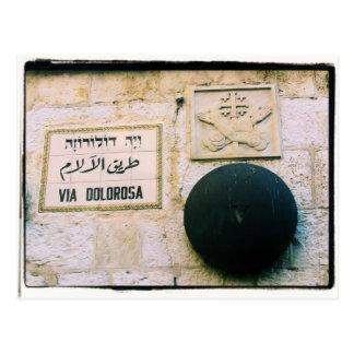 Vía Dolorosa - postal vieja de Jerusalén de la ciu