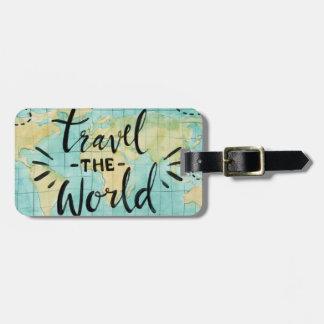 Viaja la etiqueta del equipaje de la acuarela del