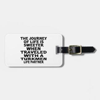 Viajado con un socio turcomano de la vida etiquetas para maletas
