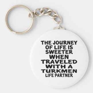 Viajado con un socio turcomano de la vida llavero redondo tipo chapa