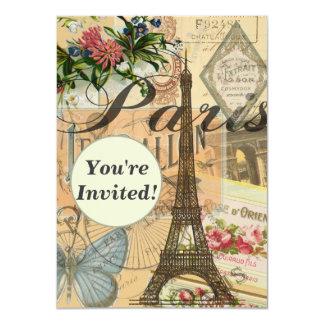 """Viaje 4,5 x 6,25"""" del vintage de París Francia Invitación 11,4 X 15,8 Cm"""