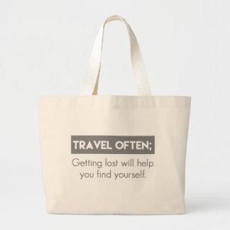 viaje a menudo bolsa tela grande