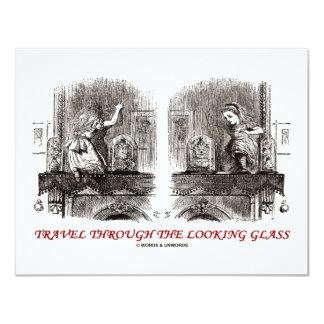 Viaje a través del espejo (país de las maravillas) invitación 10,8 x 13,9 cm