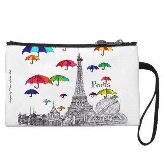 Viaje con la torre de París Effiel de los paraguas