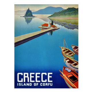 Viaje de Grecia del vintage - isla de Corfú Postal